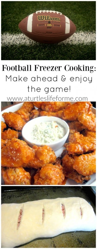 Fantastic ideas for football freezer cooking so somebody isn't stuck in the kitchen all day during the game! These would work great for tailgating parties too!