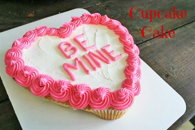 Valentine's Cupcake Cake- an easy trick so it doesn't look messy!