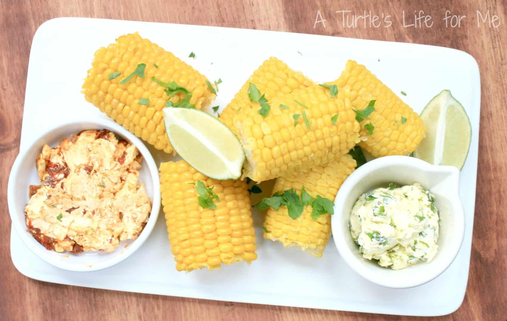print grilled corn with cilantro lime and chipotle lime butters