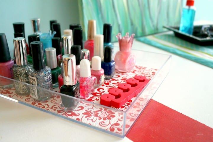 duck tape shelf liner nail polish tray