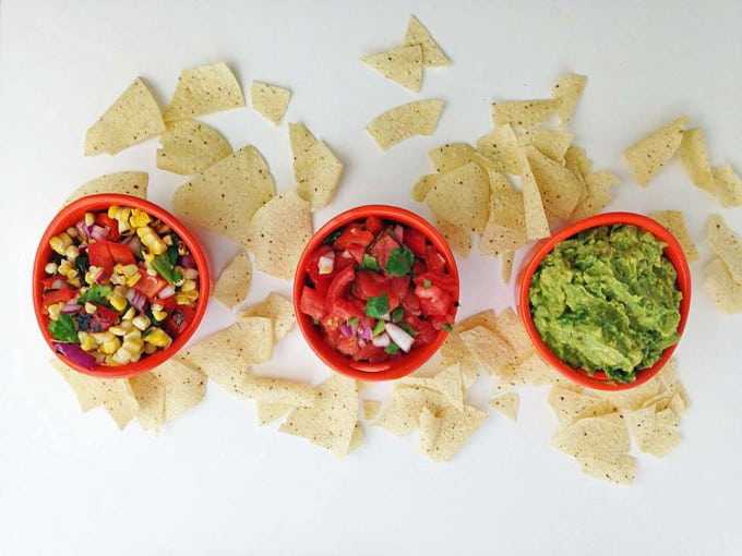 Charred Corn and Pepper Salsa, Pico De Gallo, and Guacamole