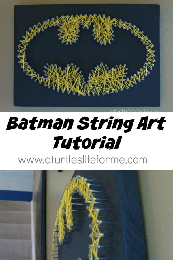 batman nail wood string art
