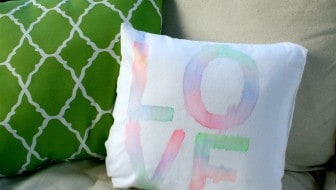 faux watercolor pillow with fabric markers