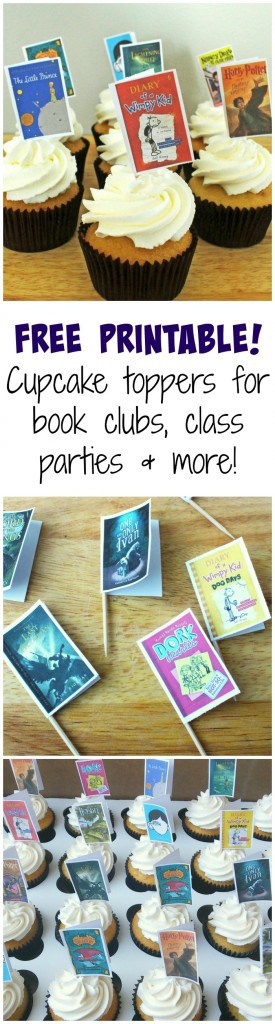 Book cover free printable cupcake toppers