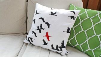 bird pillow paint your own stencil
