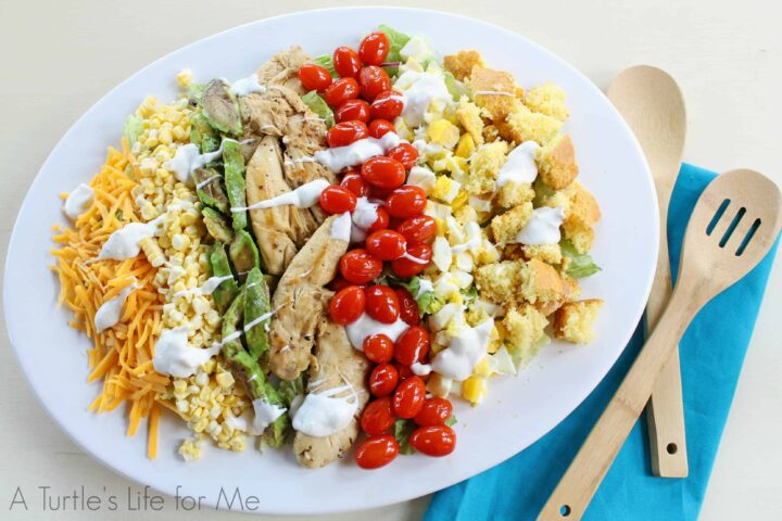 Grilled Chicken Cobb Salad with Bleu Cheese Dressing- A Turtle's Life for Me