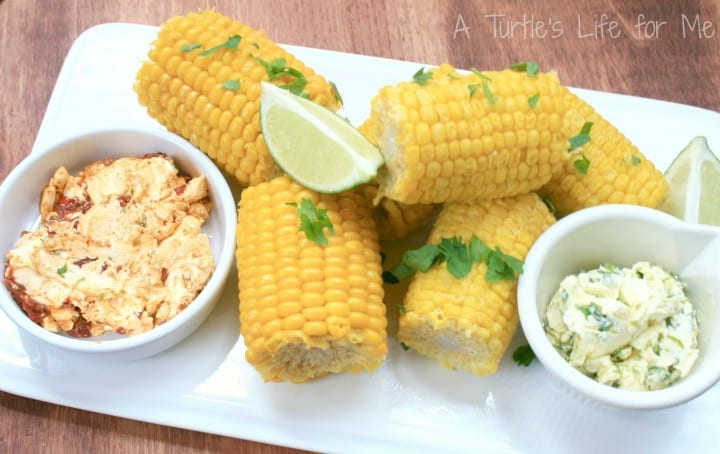 Grilled Corn with Chipotle Lime and Cilantro Lime Butters