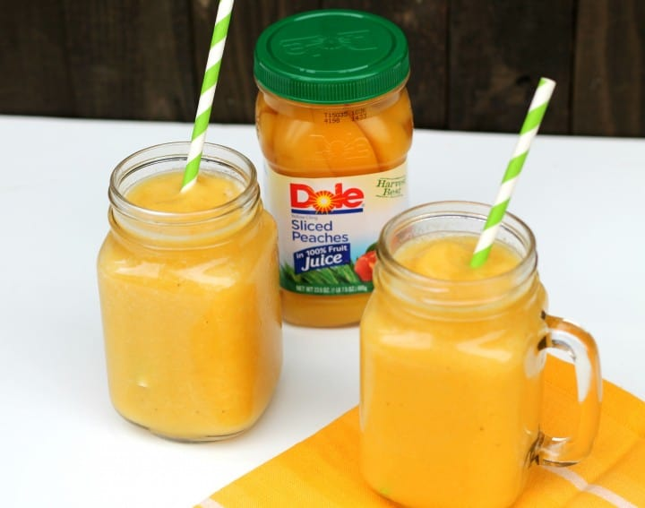 This peach banana smoothie only takes a few steps! So easy the kids can make it themselves, but the whole family will want to eat it! And my favorite part is that you aren't wasting any food! Just take what you need! DoleJarredFruit AD