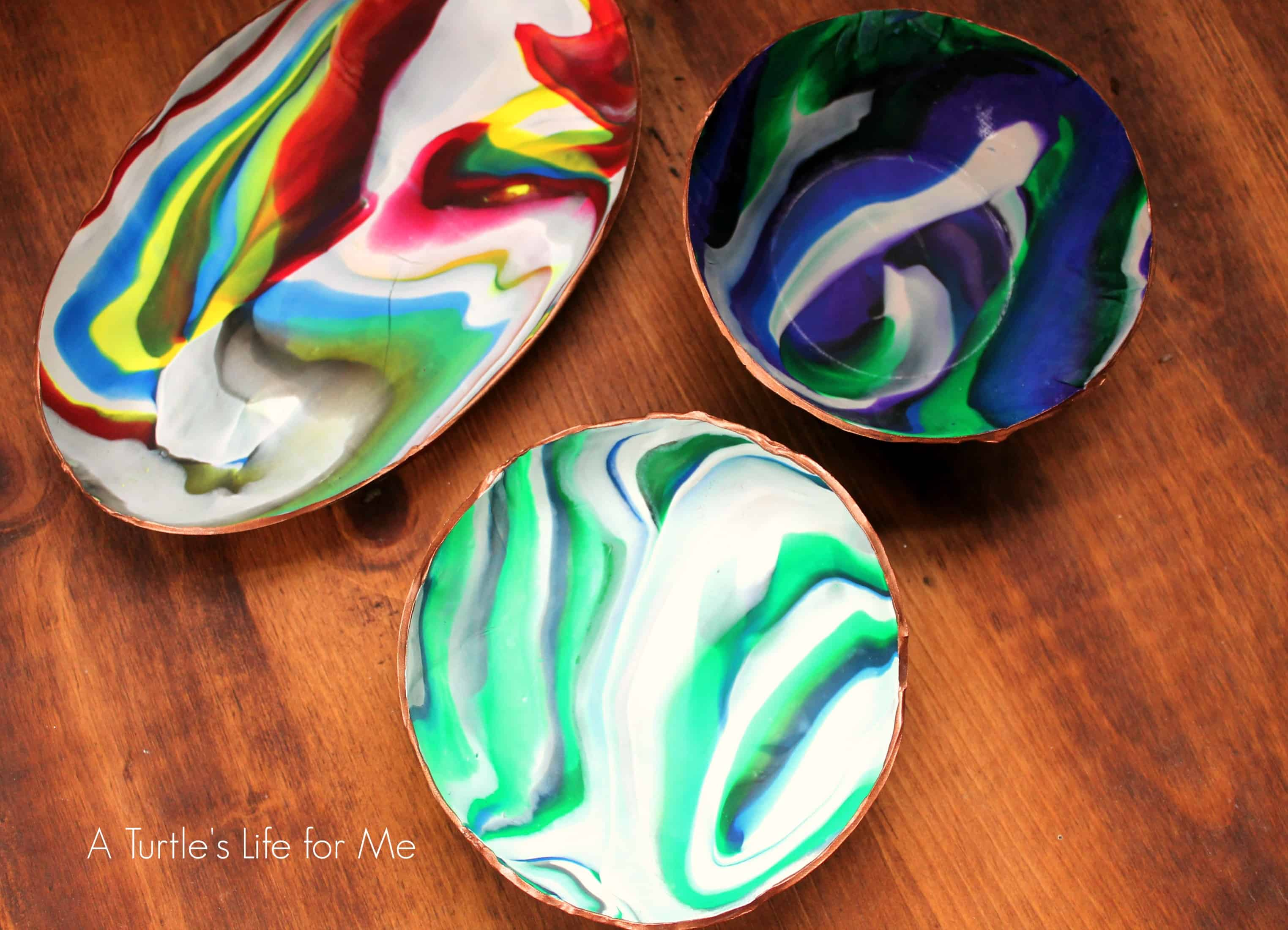 marbleized jewelry dishes made from oven baked clay