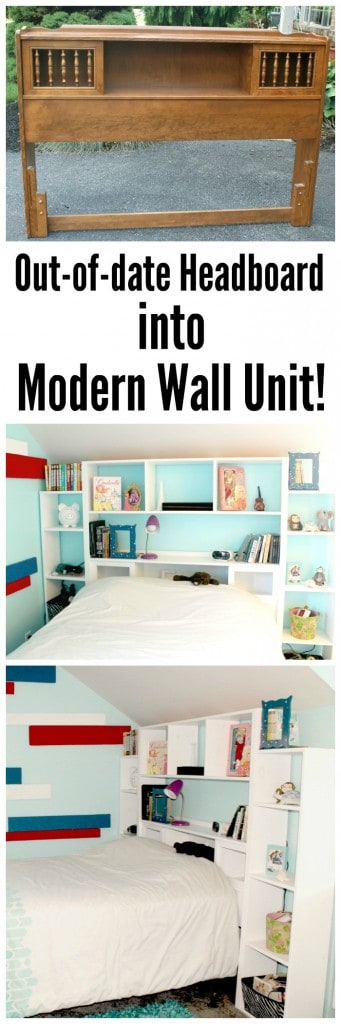 turn an out of date headboard into a modern wall unit