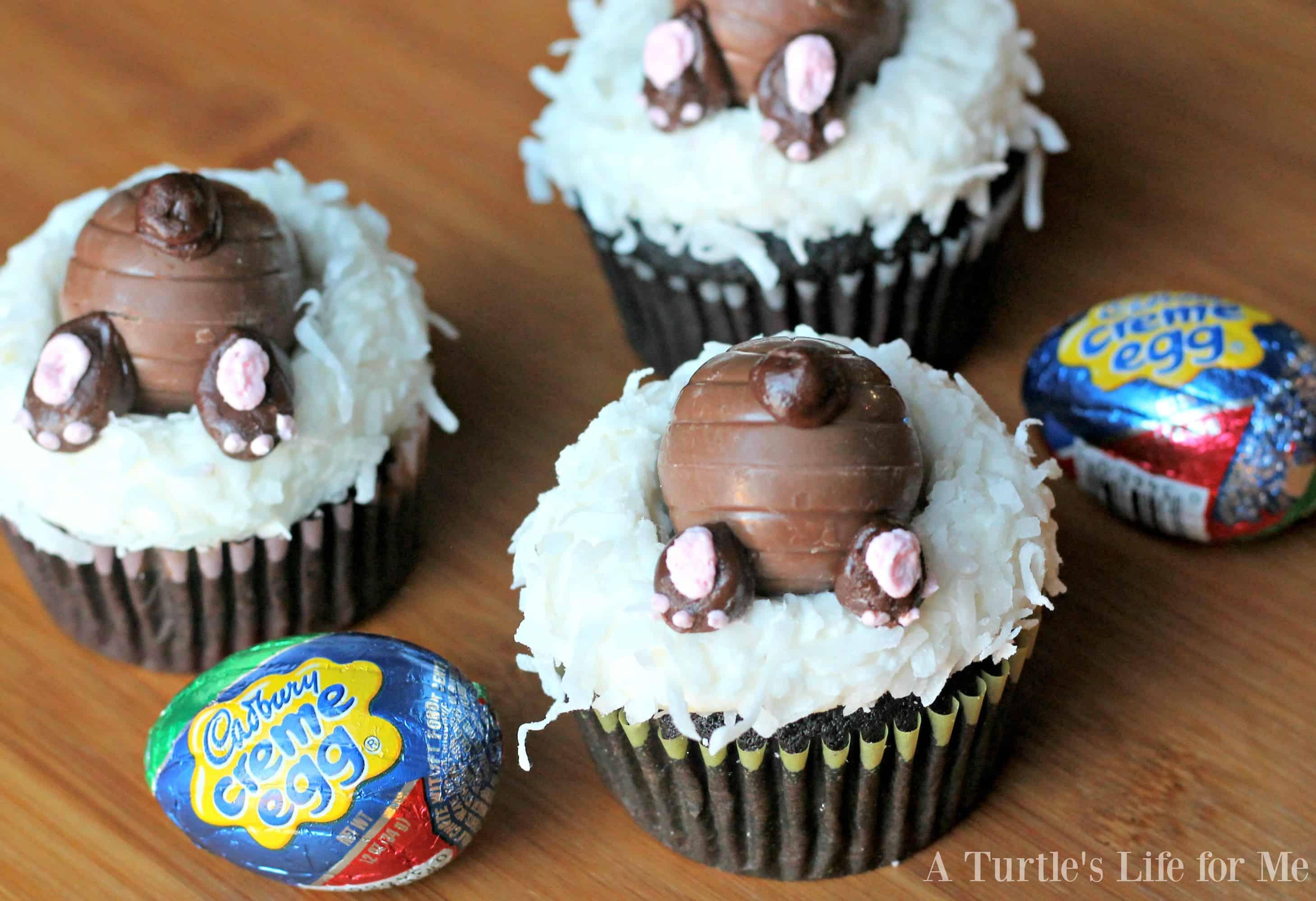 Cadbury cream egg bunny cupcakes- A Turtle's Life for Me
