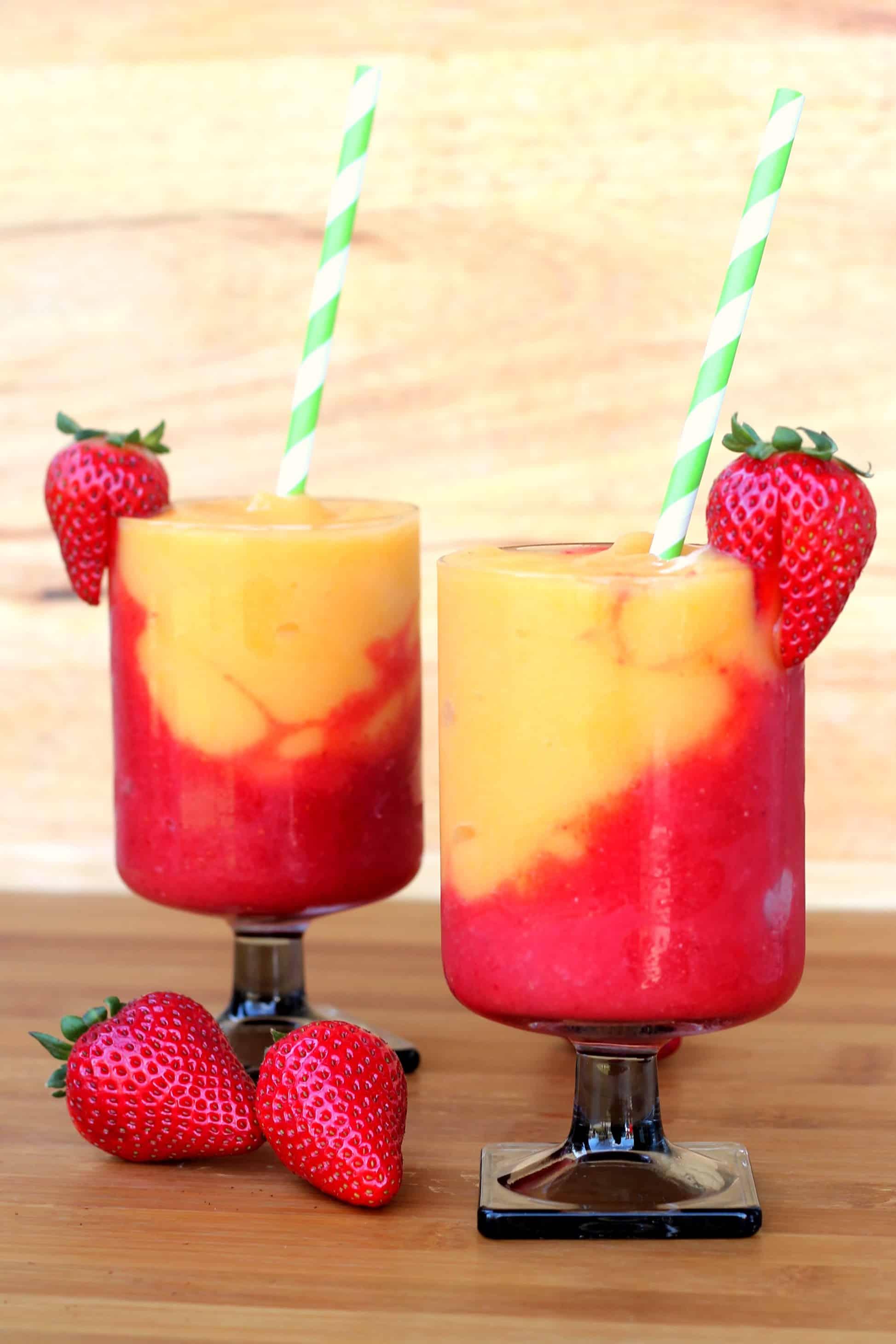 Strawberry and peach wine slushies