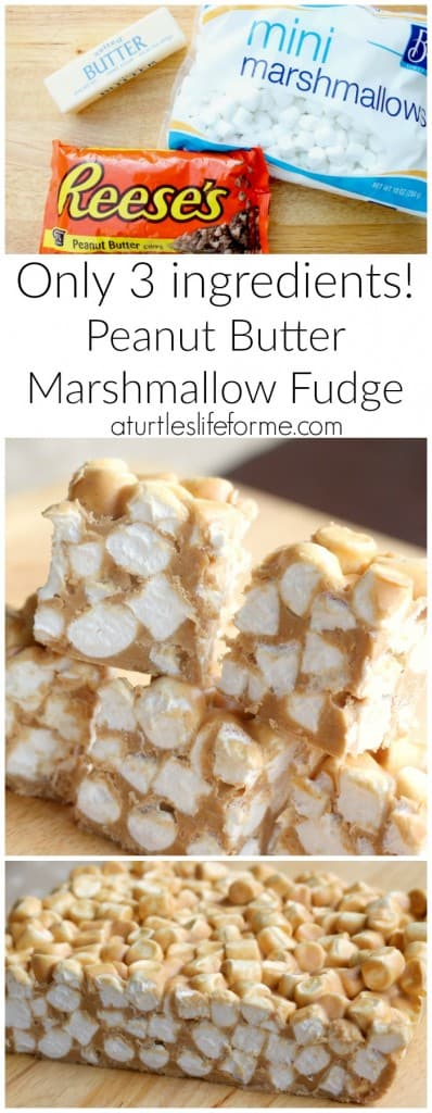 3-ingredient Peanut Butter Marshmallow Fudge! So good and easy!