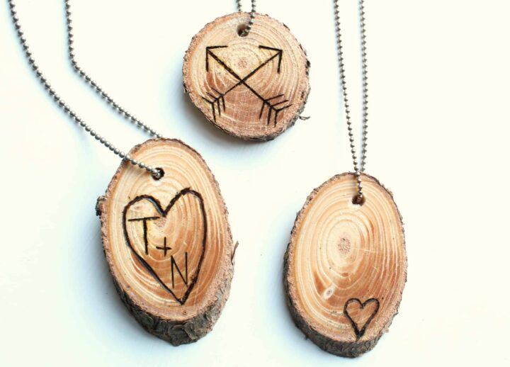 Wood slice necklaces