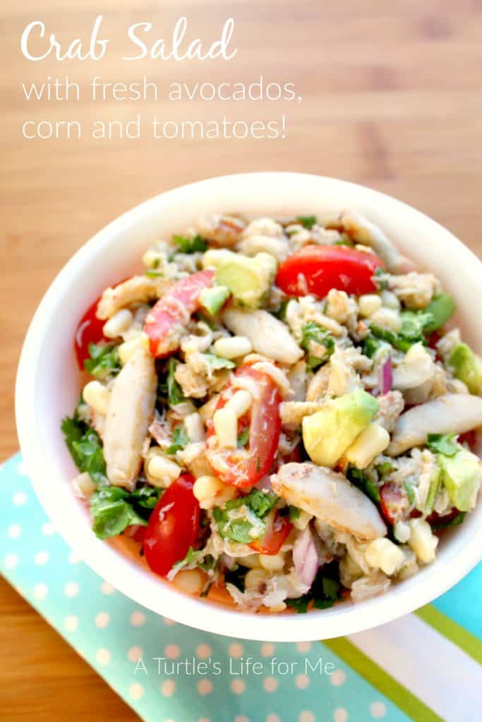 crab salad with avocados corn and tomatoes