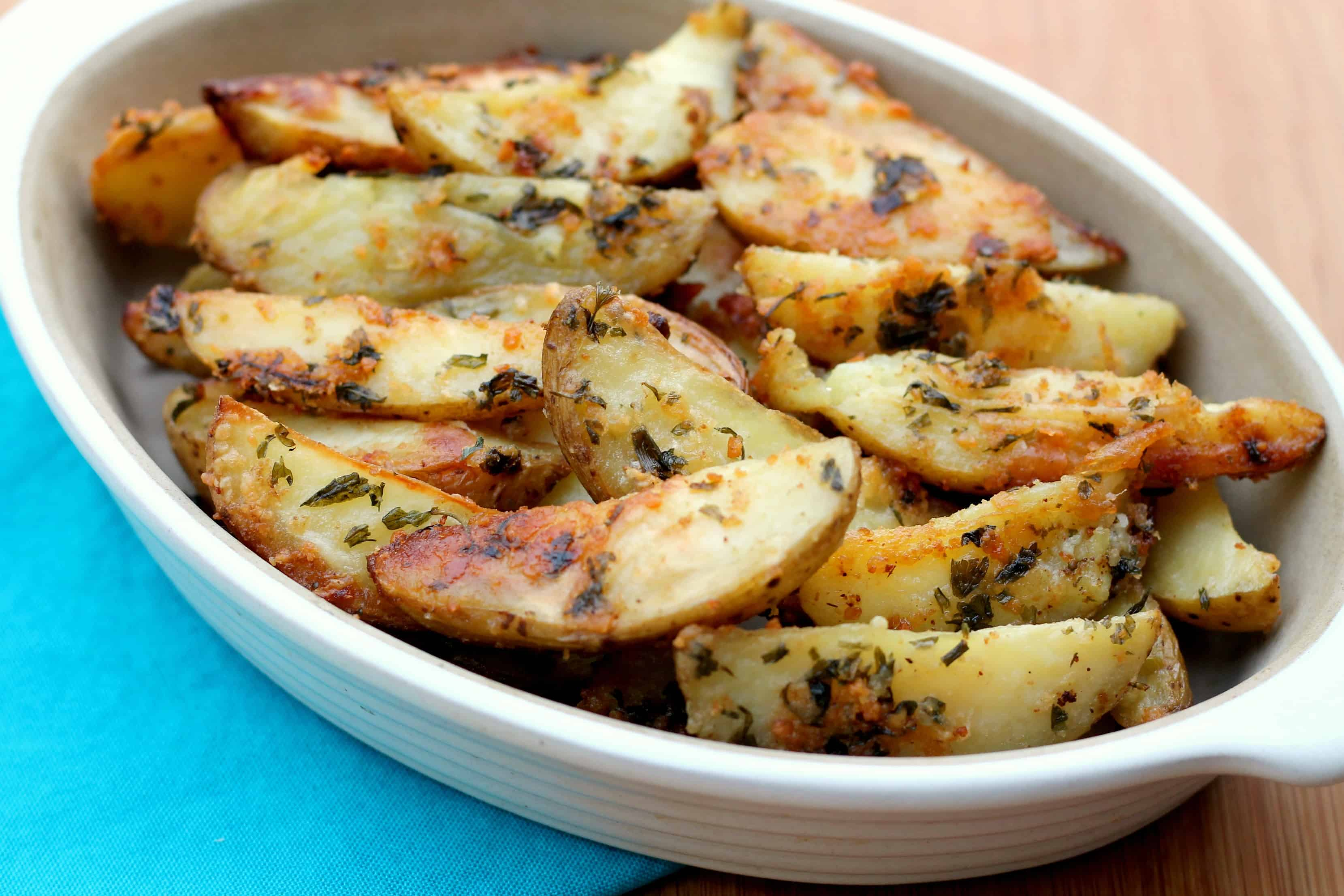 Parmesan Baked Potato Wedges with Parsley