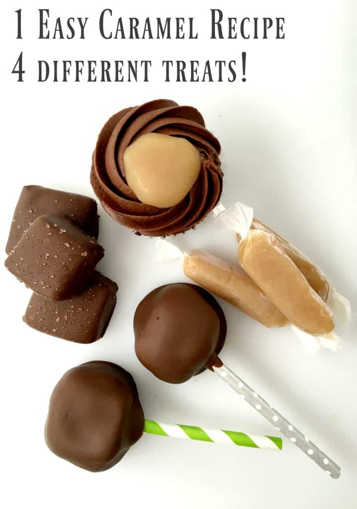 1 caramel recipe can make you 4 different treats! Easy recipe that you make in the microwave!