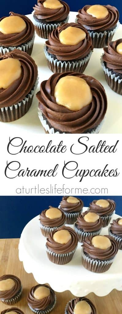 Chocolate Cupcakes with chocolate fudge frosting and a salted caramel center! These are SO easy to make but taste decadent!