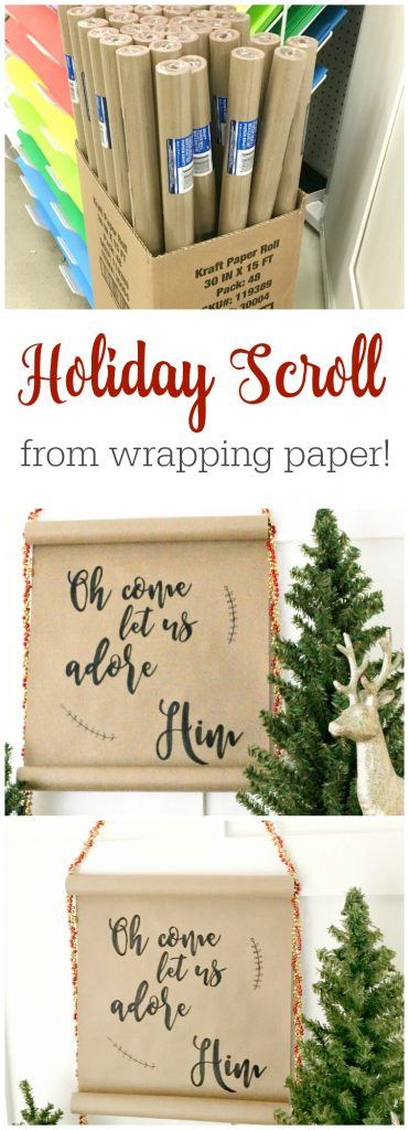Hand Lettered Holiday Scroll! This is gorgeous and only costs about 10 cents to make! You don't even need to have good handwriting with this secret tip!