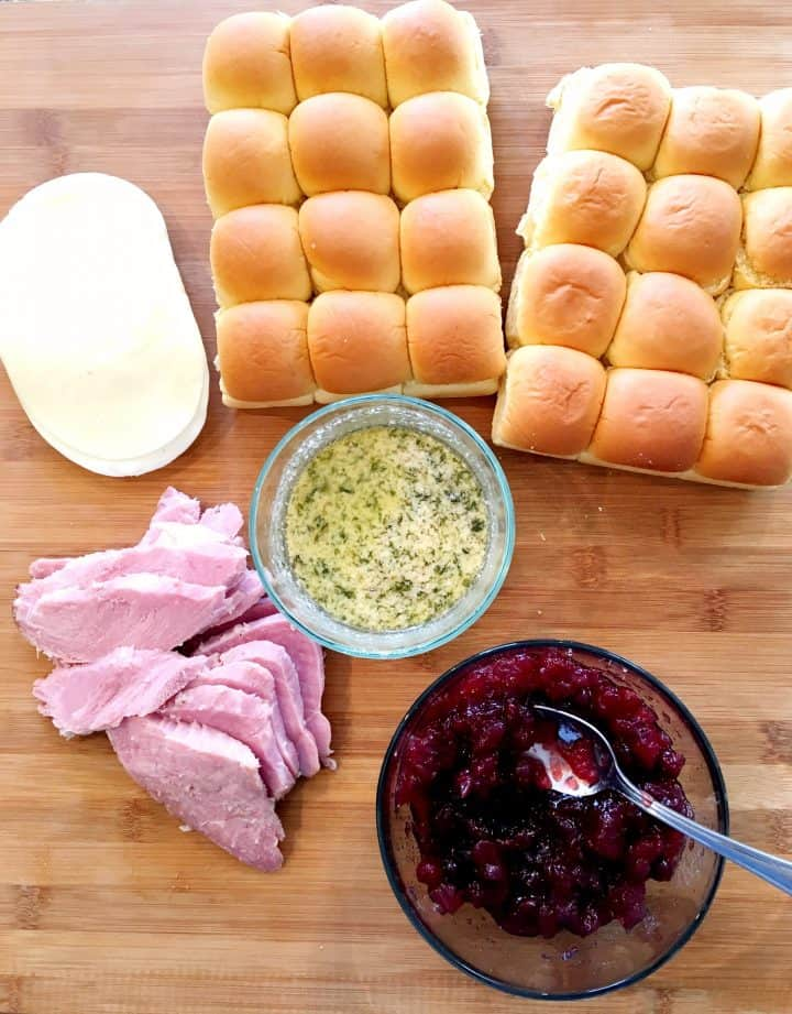 Ham and cheese sliders with cranberry sauce! The perfect way to use up leftovers!