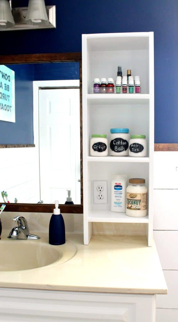 DIY bathroom vanity shelf - Built-in Shelves For Bathroom Vanity - A Turtle's Life For Me