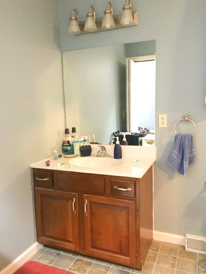 old vanity in bathroom makeover