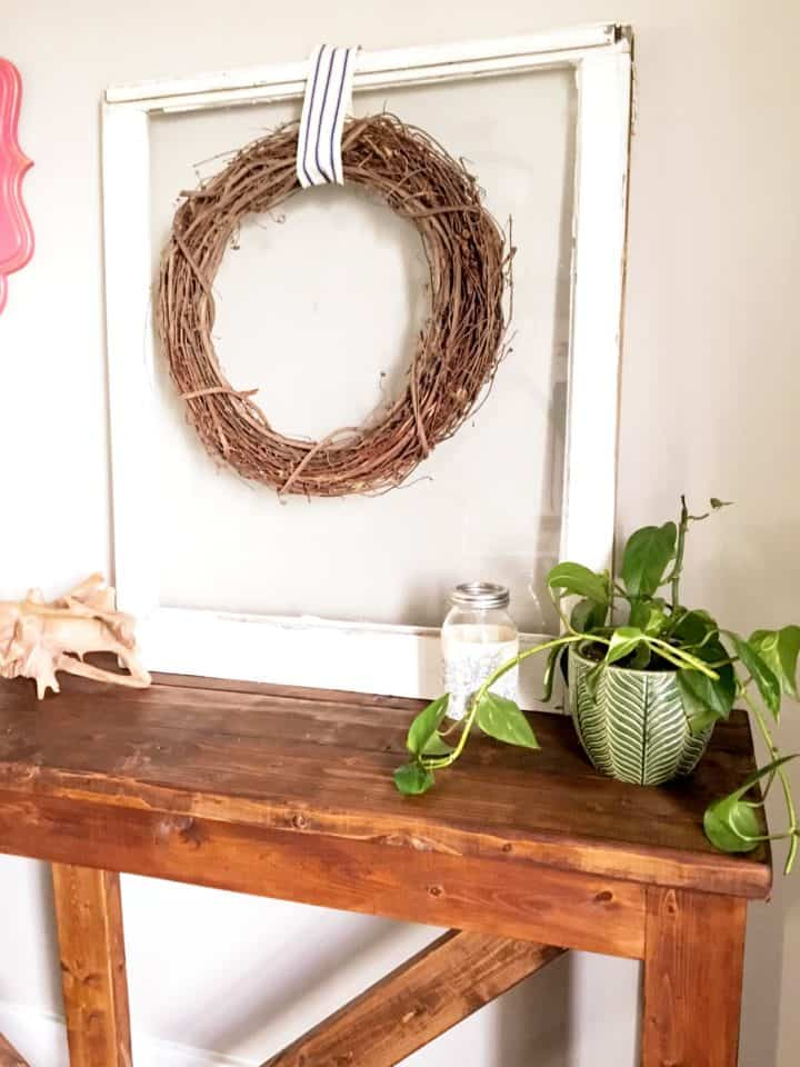 DIY Farmhouse console table out of 2x4s