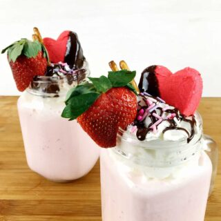 Valentine's Day Strawberry Milkshakes with chocolate