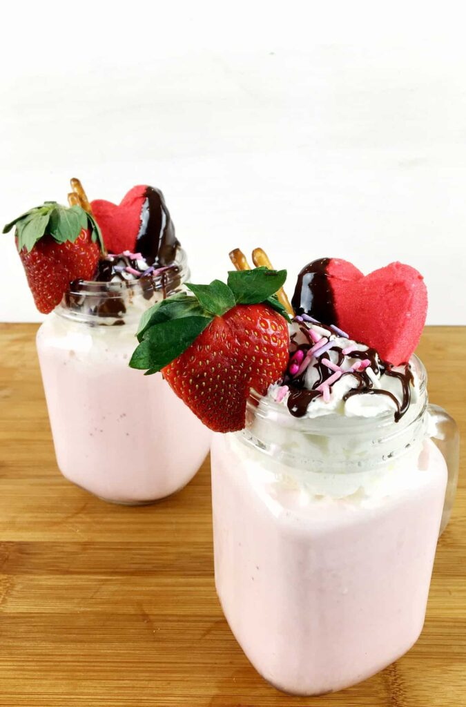 Valentine's Day Strawberry Milkshakes with chocolate toppings!