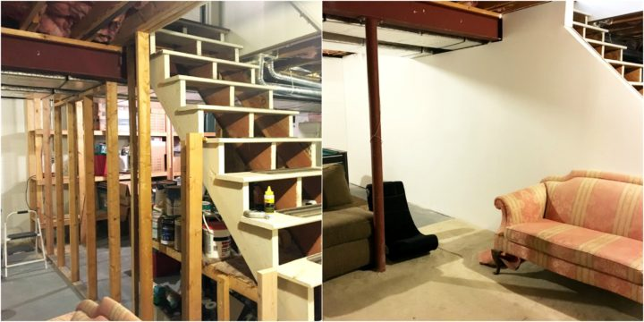 Before and after of finishing a basement wall