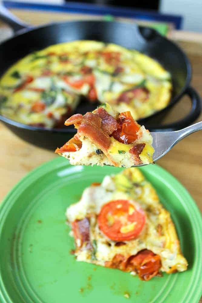 Caprese Frittata with bacon recipe for Easter