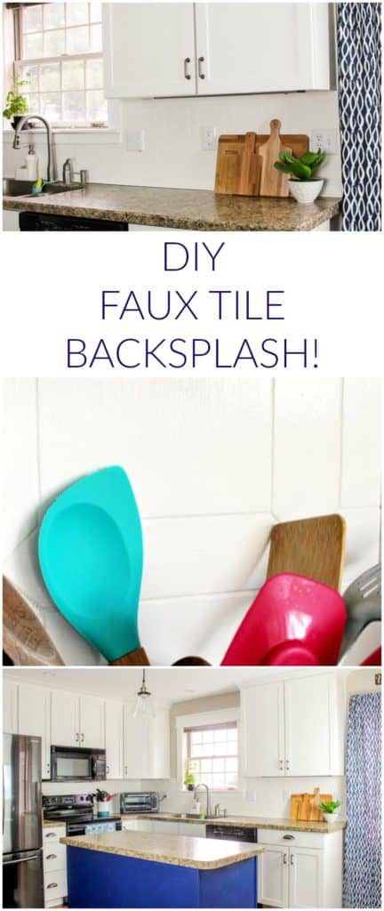 DIY Tutorial for a budget-friendly, faux tile kitchen backsplash