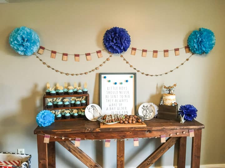Dessert table for baby shower