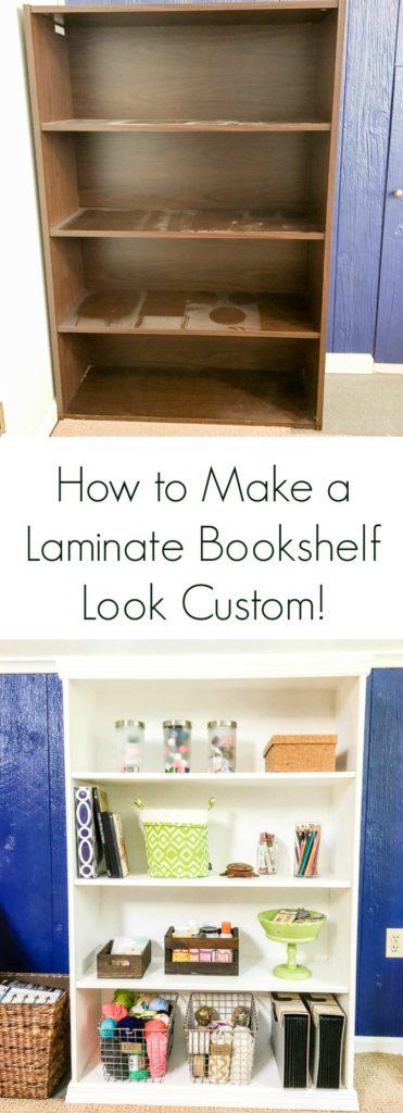 Easy tutorial for how to make a laminate bookshelf look custom