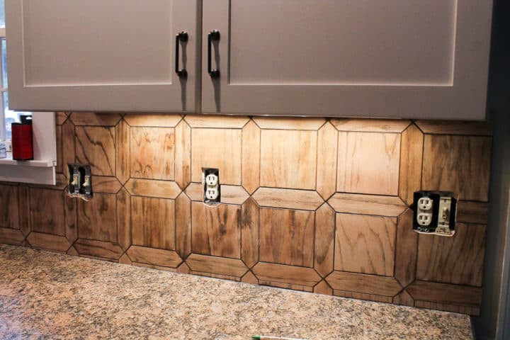 faux wood tile backsplash