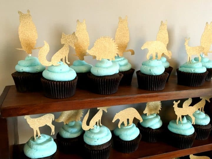 Woodland Creatures Cupcake Toppers for baby shower