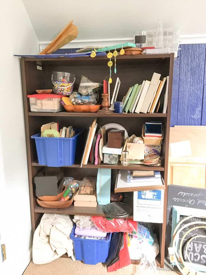 before of a generic laminate bookshelf