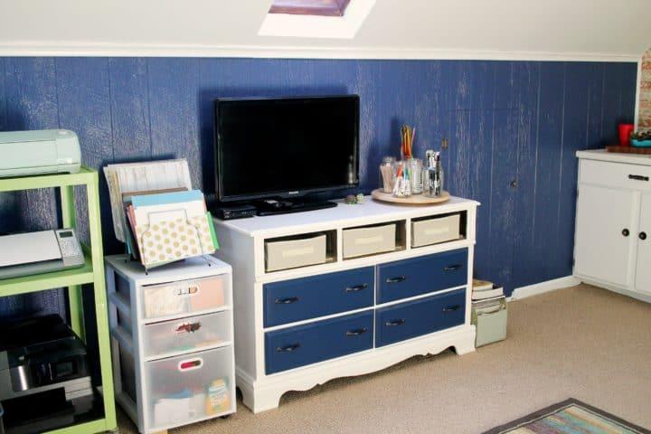 blue and white dresser makeover