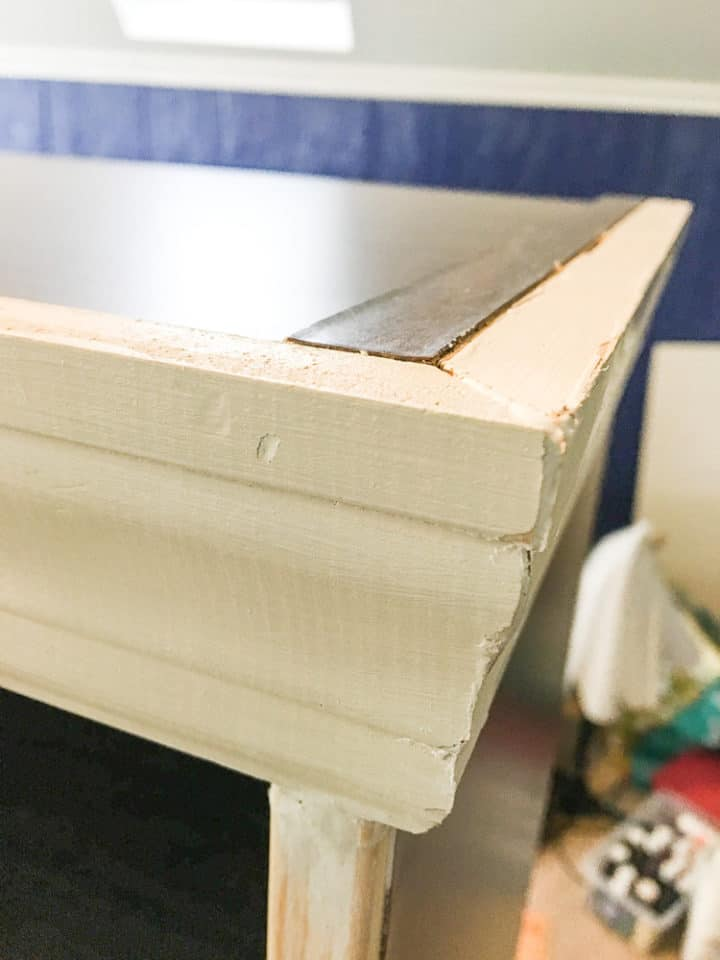 how add moulding to a laminate bookshelf to make it look custom