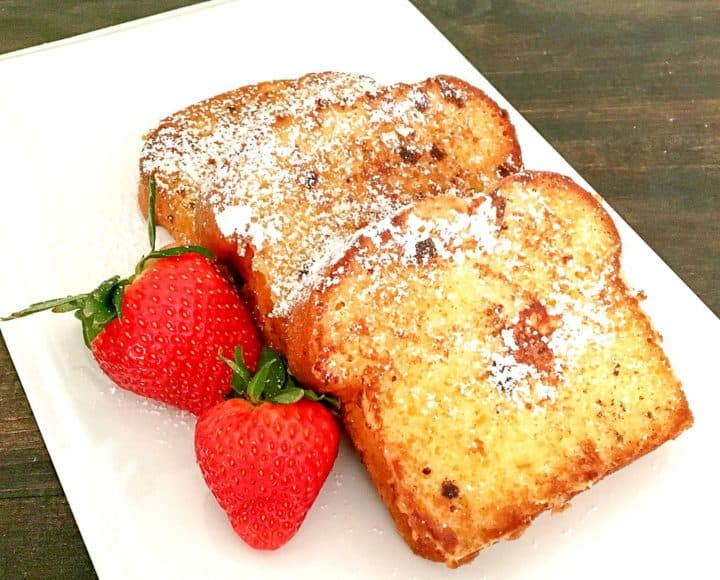 Pound Cake French Toast with strawberries recipe