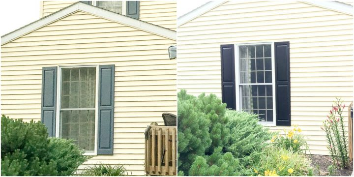 before after of blue to black shutters