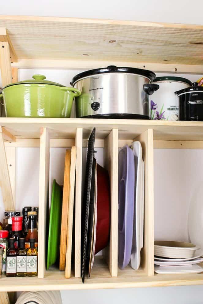 DIY kitchen pantry pan divider
