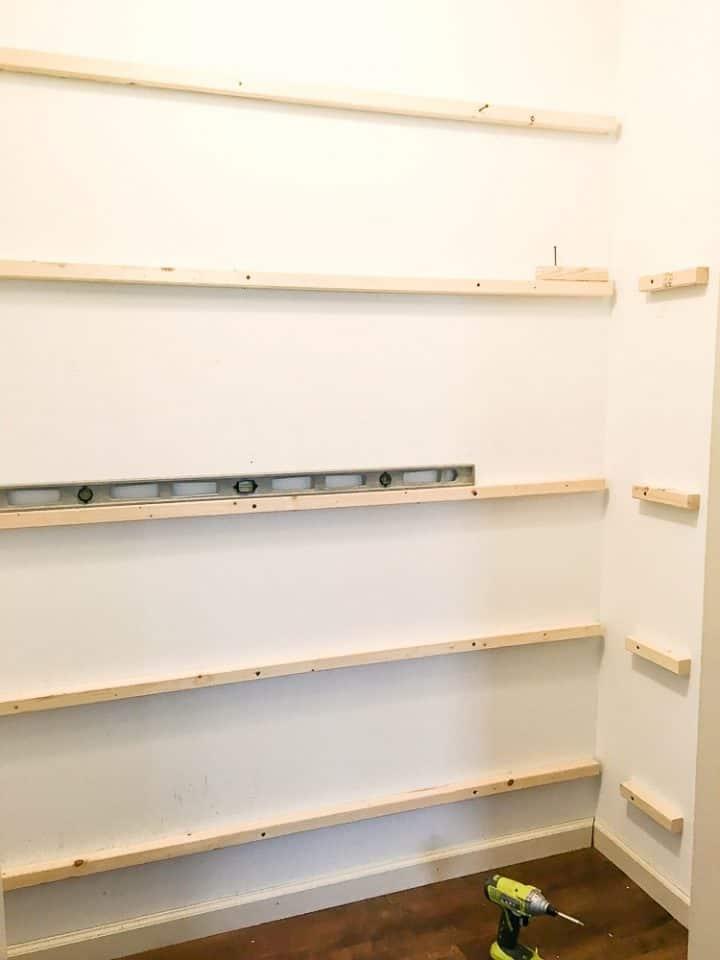 pantry DIY building shelves