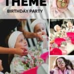 A Pinterest Pin with a collage of photos showing young girls getting spa treatments. The text says Spa Theme Birthday Party