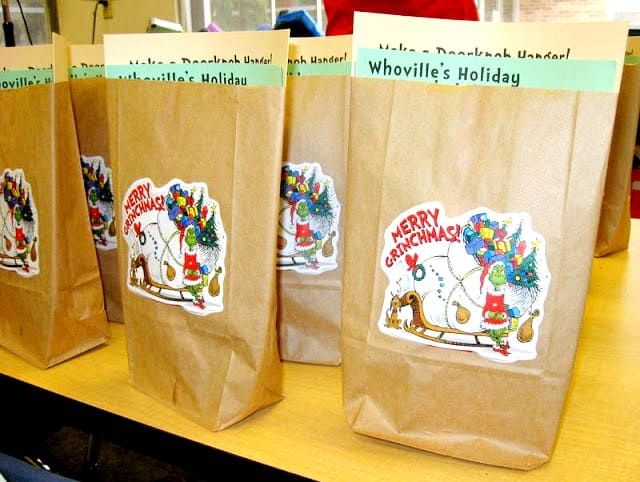 Grinch party favor bags