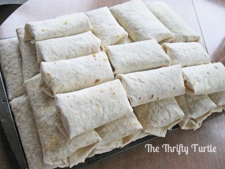 breakfast burritos stacked freezer cooking