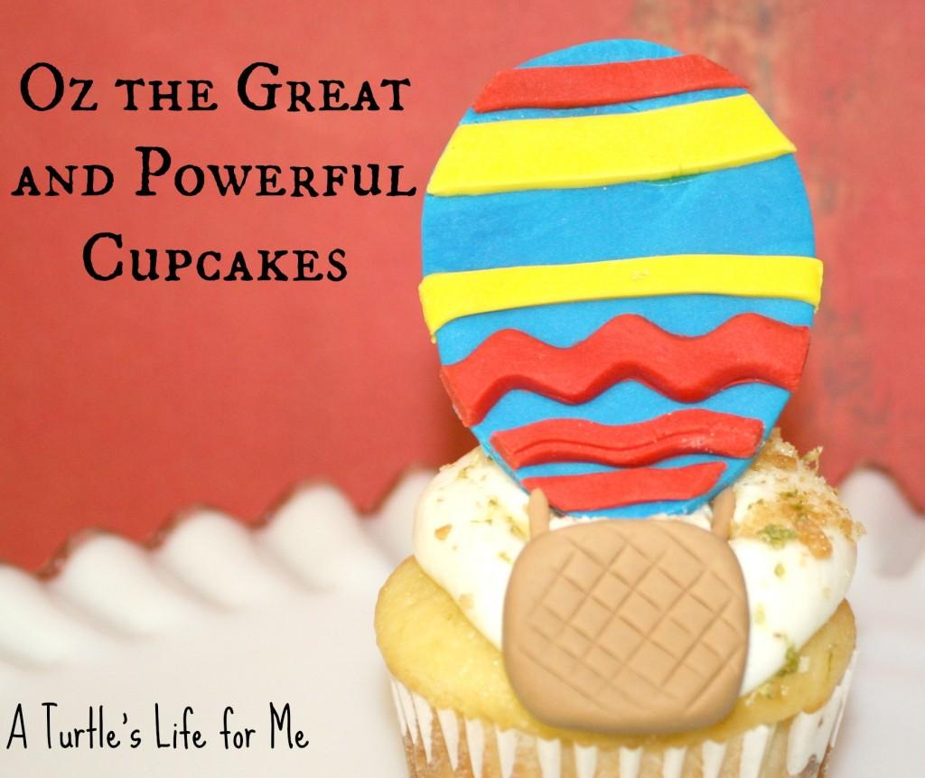 oz great powerful hot air balloon cupcakes