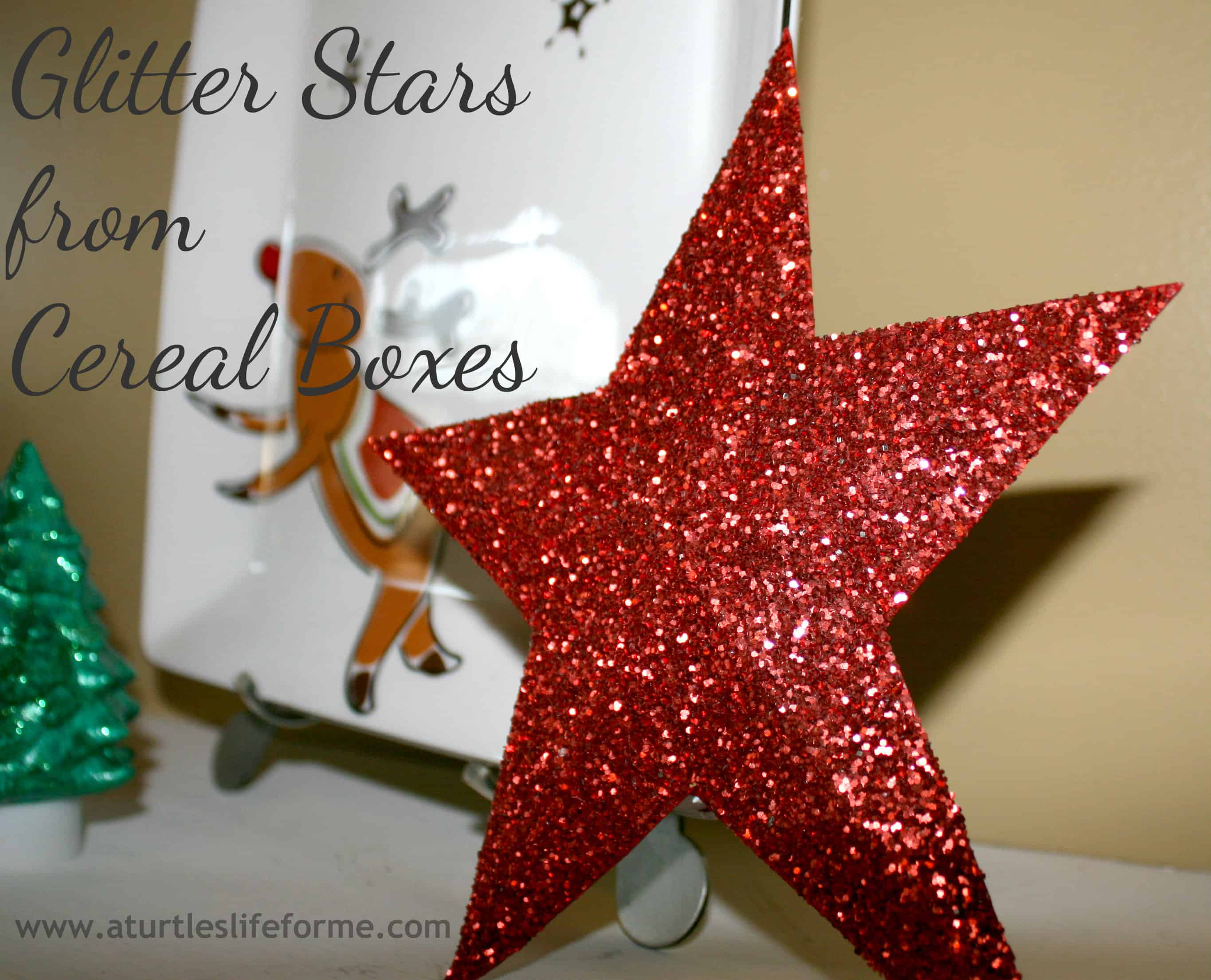 DIY Glitter Stars Christmas Cereal Boxes