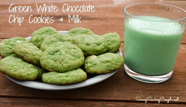 Green White Choc Chip Cookies Milk