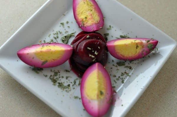 beet dyed Boiled eggs